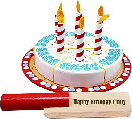 Awe Inspiring Personalised Toy Wooden Birthday Cake Food Set Baby Toddler Personalised Birthday Cards Veneteletsinfo