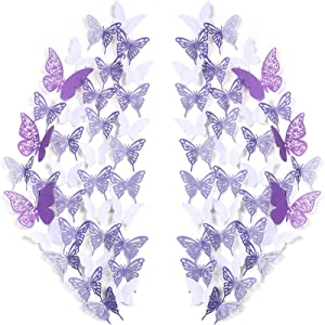 144 Pieces 3D Butterfly Wall Stickers Removable Hollow Butterfly Mural Decals DIY Decorative Wall Art Crafts for Home Wedding Decor, 3 Styles (White, Light Purple, Dark Purple)