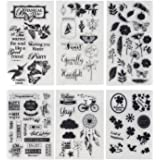 Honbay 6 Sheets Different Theme Friendly Phrases Pretty Patterns Silicone Clear Stamps for Card Making Decoration and Scrapbooking
