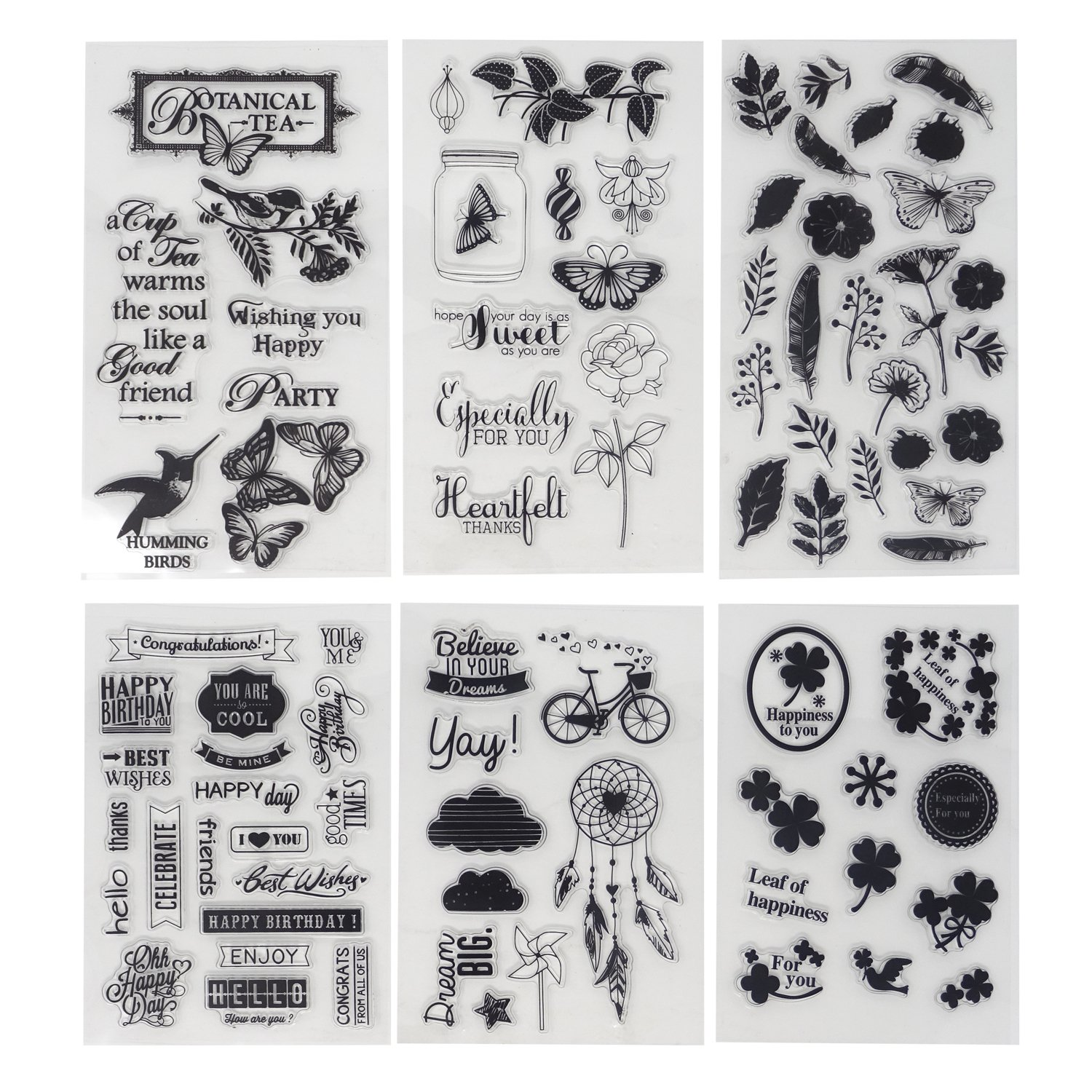 Honbay 6 Sheets Different Theme Friendly Phrases Pretty Patterns Silicone Clear Stamps for Card Making Decoration and Scrapbooking 4336990251