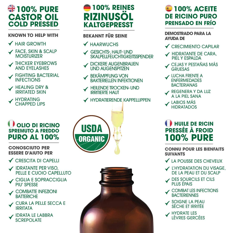 Aceite de ricino orgánico para el crecimiento sano del cabello y las pestañas reduce la apariencia de rotura y caída del cabello, hidratante - promueve la ...