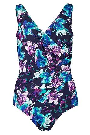 d96e173da16eb Bonmarche Womens Magnolia Print Wrap Swimsuit Purple Size 12: Amazon.co.uk:  Clothing