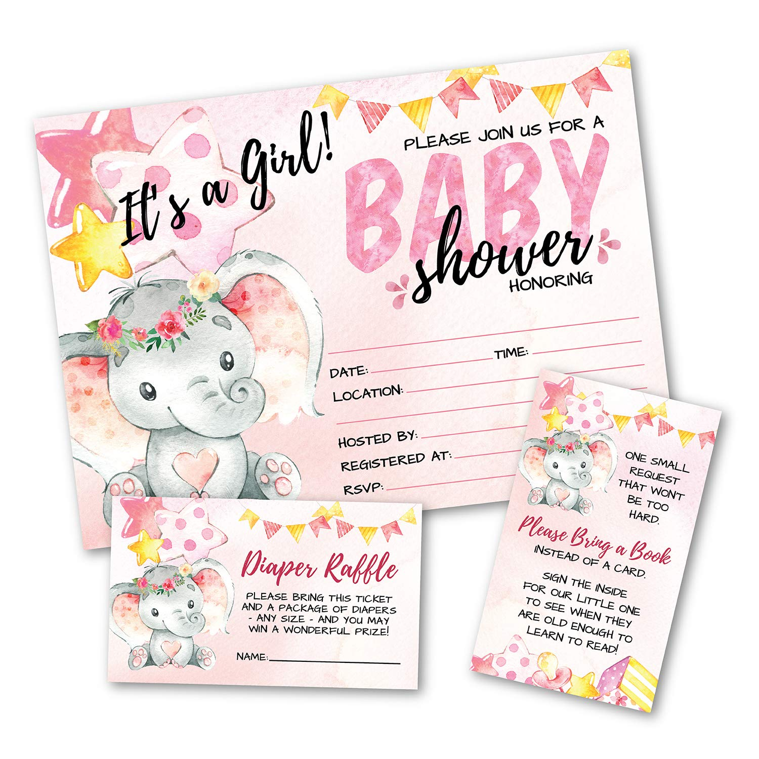 Deluxe Pink Elephant Baby Shower Invitations, Jungle, Tropical Safari Animals, Its A Girl Party Invites, Includes- 20 Each Large Double Sided 5 x 7 Invites, Raffle Tickets, and Book Request Inserts by Pink Pixie Studio (Image #9)