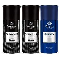 Yardley London Men Body Spray, Gentlemen, 2 x 150 ml + Equity, 150 ml