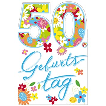 Susy Card 11288917 Gluckwunschkarte Geburtstag Zahl 50 Blumen