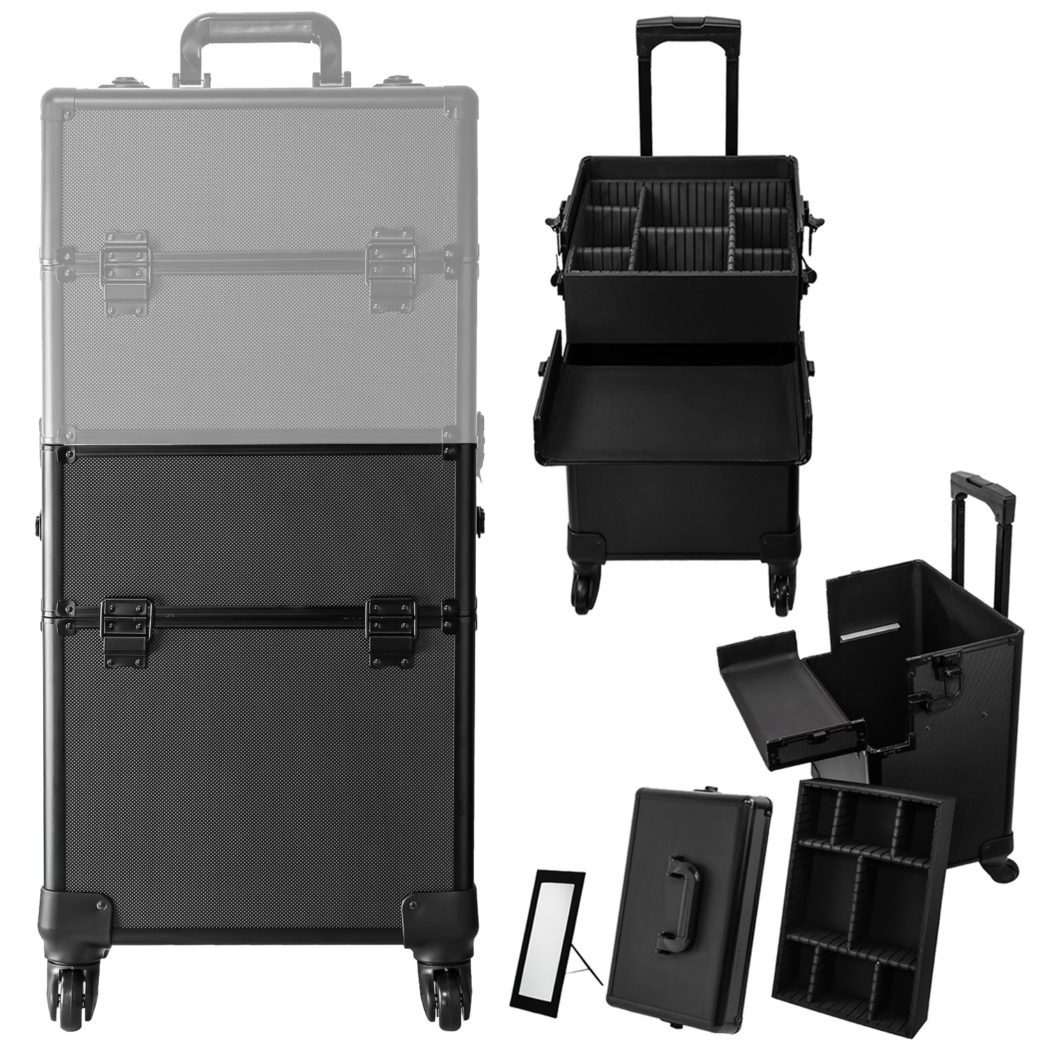 Koval Inc. 4-wheel Rolling 2in1 Makeup Train Cosmetic Case Black by KOVAL INC. (Image #2)