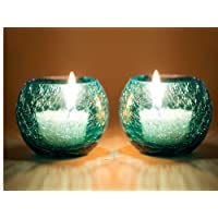 Derien Set OF 2 Orange Crackle Candle Holders With Free 2 Tea-Lights/ Beautiful Candle Stand Set For Home Decoration/ Candle Lights for Living Room And Dining Area/ Antique Candle Stand for Party Decoration (Size: 9 X 9 X 9cm) DE505165666768