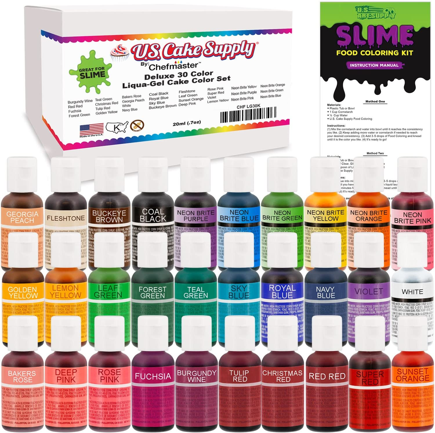 30 Color Food Coloring Liqua-Gel Ultimate Decorating Kit Primary, Secondary and Neon Colors – U.S. Art Supply Food Grade, 0.75 fl. oz. (20ml) Bottles, Non-Toxic Popular Colors