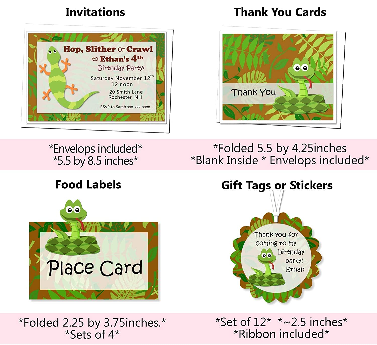 Thank Yous Personalized Reptile Snake Birthday Cake Topper or Table Centerpiece BCPCustom Handmade in USA Favor Tags or Stickers Sign Optional Decorations Invitations