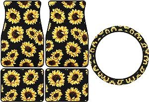 5 Pieces Sunflower Car Accessories Car Interior Decorations, Includes 4 Pieces Sunflower Car Front Rear Floor Foot Mat, Sunflower Steering Wheel Cover, Universal Fit Automotive Anti-Slip Car Floor Mat