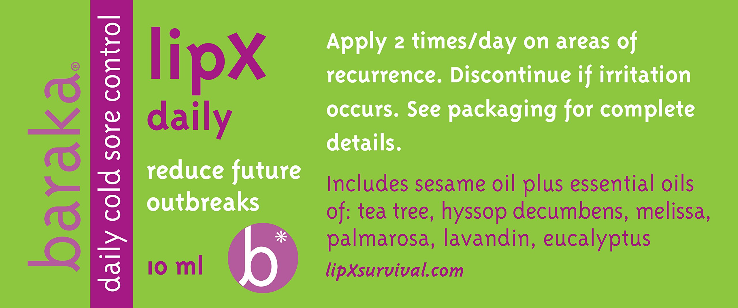 Baraka LipX Daily 10 ml- Daily Maintenance Blend. Fever Blister Cold Sore Control Formula. Reduce Future Outbreaks! All Natural, Organic Essential Oils (1 pk) by Baraka (Image #3)