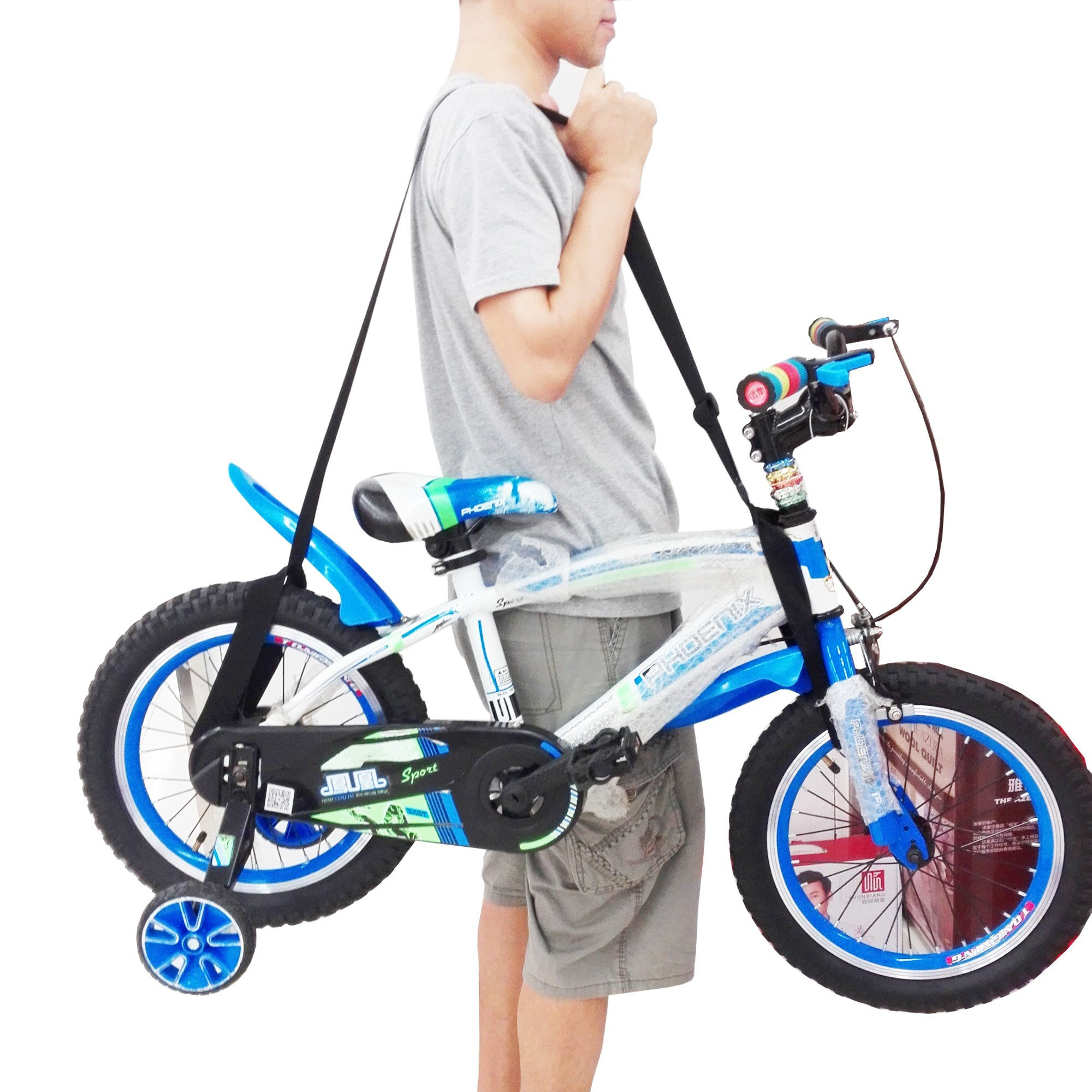 One Weight lifting Shoulder Carrying Strap for Kids Balance Bike, Scooter , Foldable Bicycle - No further damage to your back!