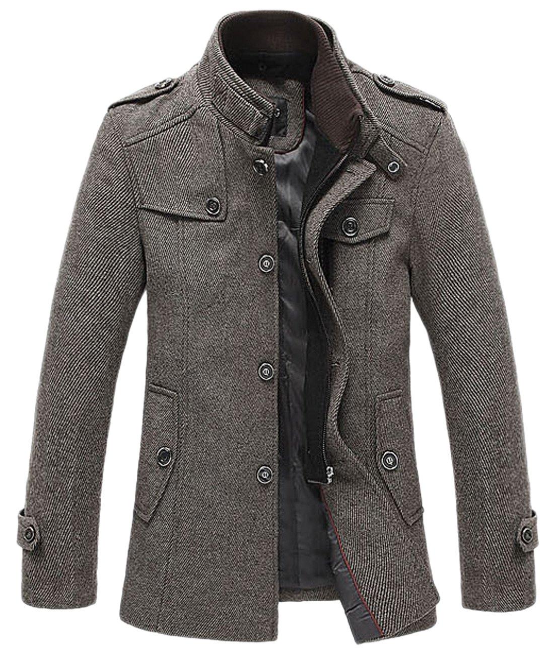 Chouyatou Men's Winter Stylish Wool Blend Single Breasted Military Peacoat (X-Small, Khaki)