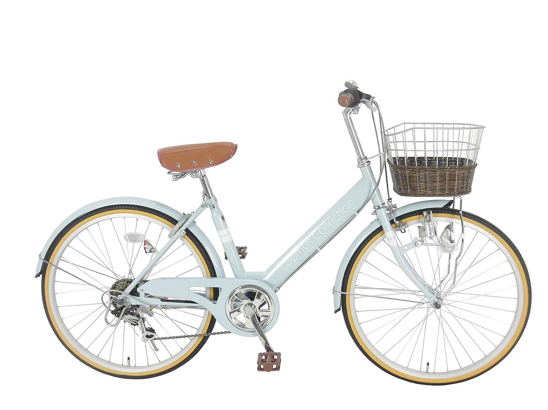 Lupinusルピナス 自転車 24インチ LP-246VD シティサイクル Vフレーム 籐風カゴ ダイナモライト 100%完成車  ペールブルー B0798HW4Y2