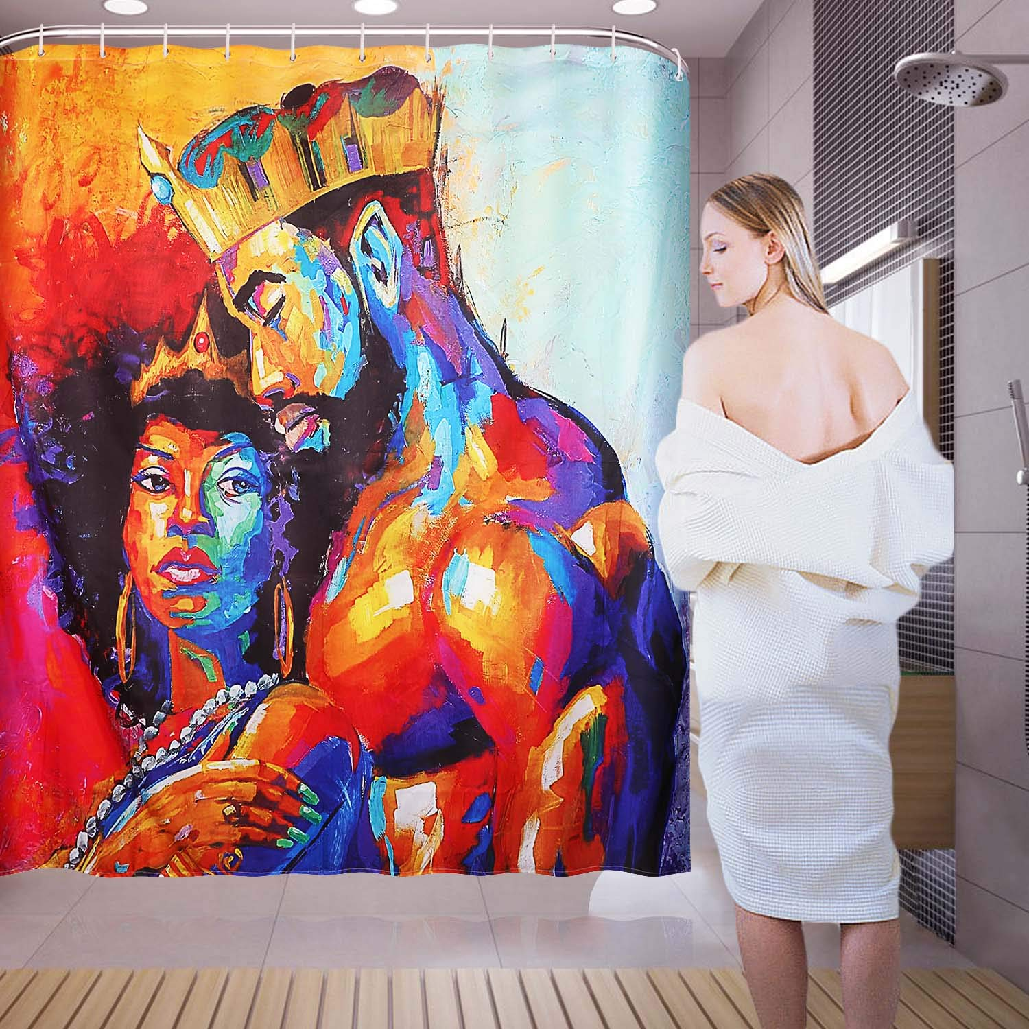 Flymall Shower Curtain Set,Waterproof Washable Polyester Fabric African Couples Painting Shower Curtain Including 12-Pack Shower Hooks for Home Bathroom Decor(71 x 71)