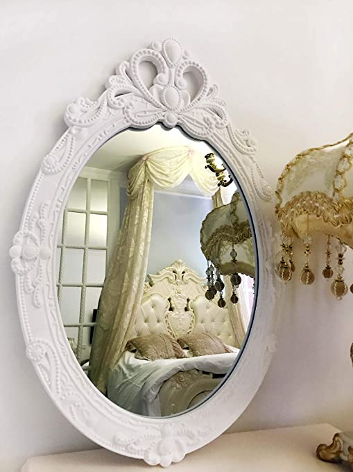 Basswood Hunters Oval Vintage Decorative Wall Mirror, White Wooden Crown  Frame, Antique Princess Decor for Bedroom,Playroom,Dressers,Living Room, ...