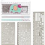 Zauber in acciaio inossidabile Disegno di righello Stencil scala Template set Grafica Stencil Template numero Stencil righello (Confezione da 3)