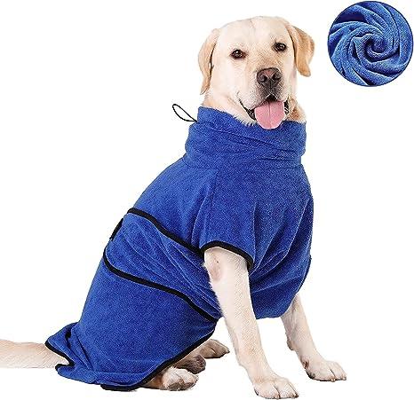 HAPPY HACHI Albornoz para Perros Microfibra Absorbente, Toallas Secadores Rápido para Perros Pequeños Grandes, Baño Gatos Lavable Pijamas para ...