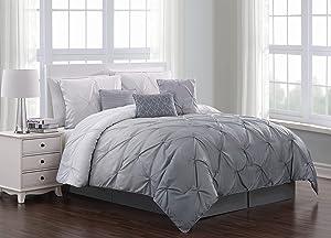 Geneva Home Fashion Bergen Ombre Comforter Set, Queen, Grey