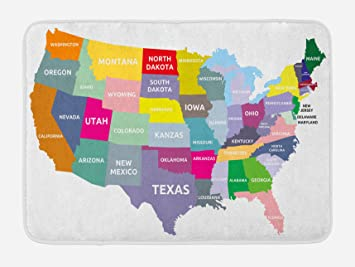Plush Oregon Map.Amazon Com Ambesonne Map Bath Mat Usa Map With Name Of States In