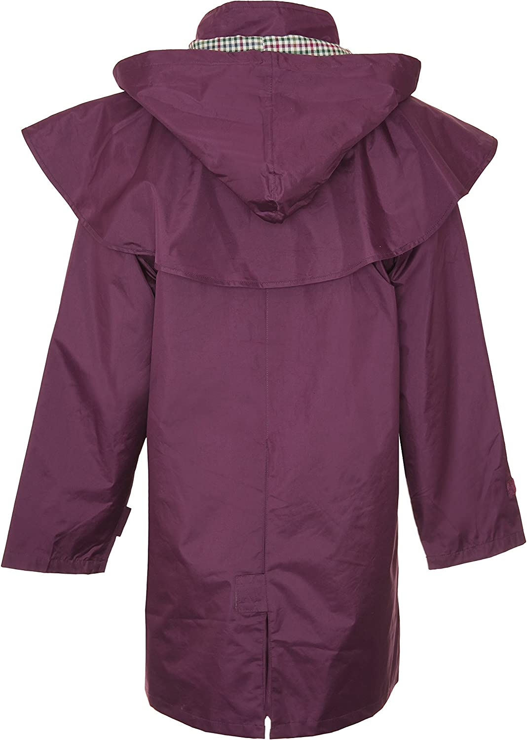 Country Estate Ladies Windsor Waterproof Fabric Lightweight Lined Riding Cape Coat Jacket Trench Coats Macs Lined Detachable Hood Taped Seams Walking Outdoors Countrywear Plum Size 12