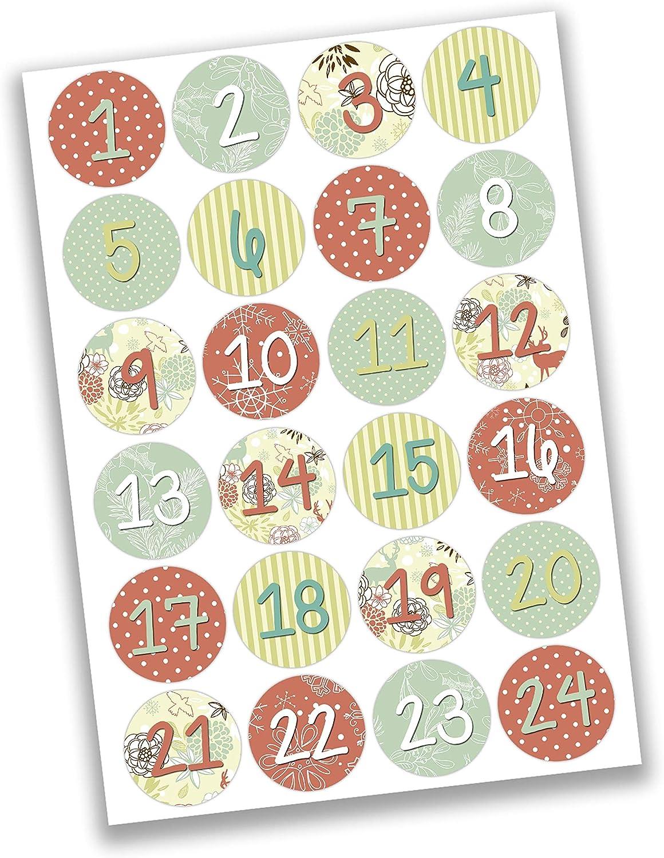 Weihnachten 2019 f/ür Kinder DIY Adventskalender zum Bef/üllen Mini Set Nr 24 zum Selbermachen und Basteln mit 24 braunen Papiert/üten und 24 dezenten Aufklebern