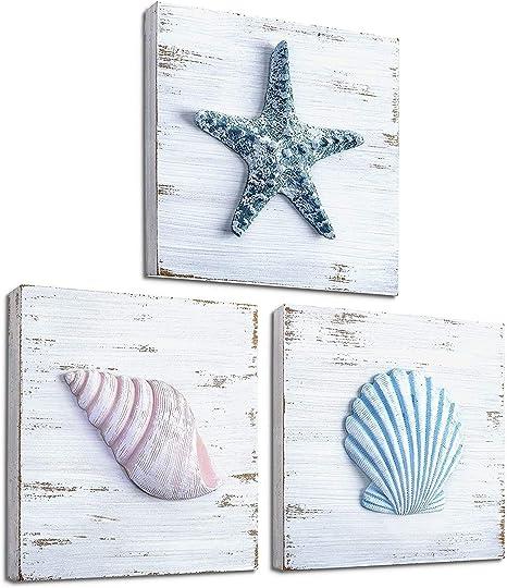 Amazon Com Tideandtales Beach Theme Seashell Wall Decor Set Of 3 Shells And Starfish Beach Decor For Bathroom Bedroom Or Living Room Rustic Coastal Decor Ocean Inspired Beach Decorations For
