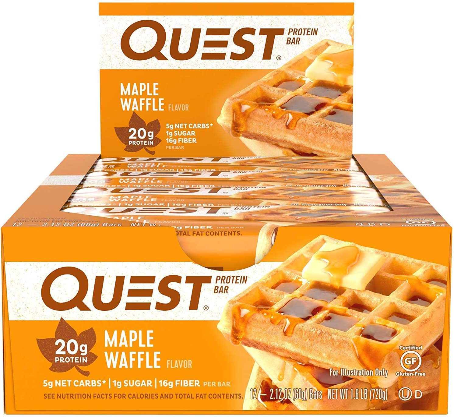 Quest Nutrition Maple Waffle Protein Bar, High Protein, Low Carb, Gluten Free, Keto Friendly, 12 Count