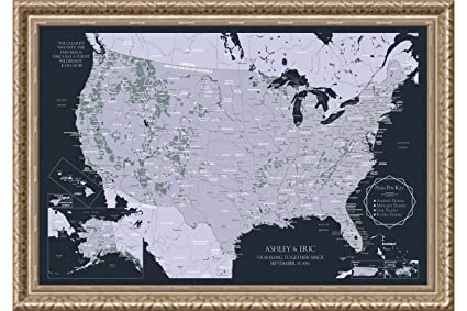 Amazon Com Framed Usa National Parks Map Persoanlized United