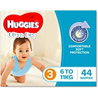 Huggies Ultra Dry Nappies, Boys, Size 3 Crawler (6-11kg), 44 Count