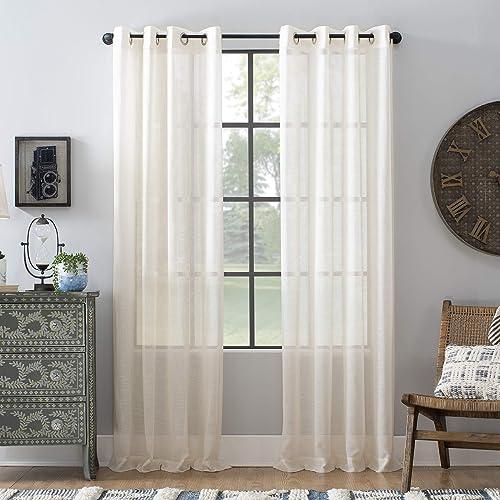 Archaeo Slub Textured Linen Blend Grommet Top Curtain, 52 x 95 , Ivory