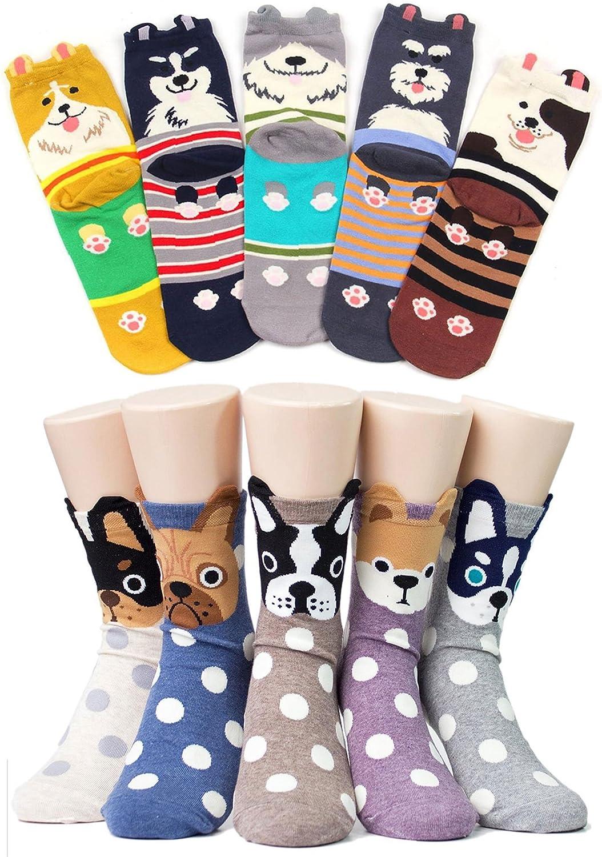 Ladies/Womens Cute Dog Casual Cotton Crew Socks Animal Printed Novelty Liner Socks