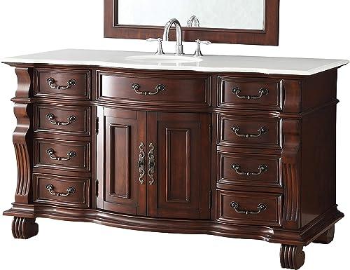 60 Large and Spacious Single Sink Bathroom Vanity Cabinet – Model DG-4437W-60 Hopkinton