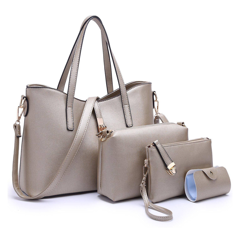 Tibes Fashion Women's PU Leather Handbag+Shoulder Bag+Purse+Card Holder 4pcs Set Satchel Bronze