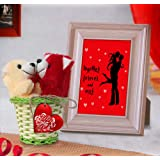 TIED RIBBONS Valentines Day Best Gifts Pack for Boyfriend, Girlfriend, Wife, Husband Combo(Quoted Photo Frame(Image Replaceable), 2 Small Teddy, Wooden Tag and Rattan Bucket)