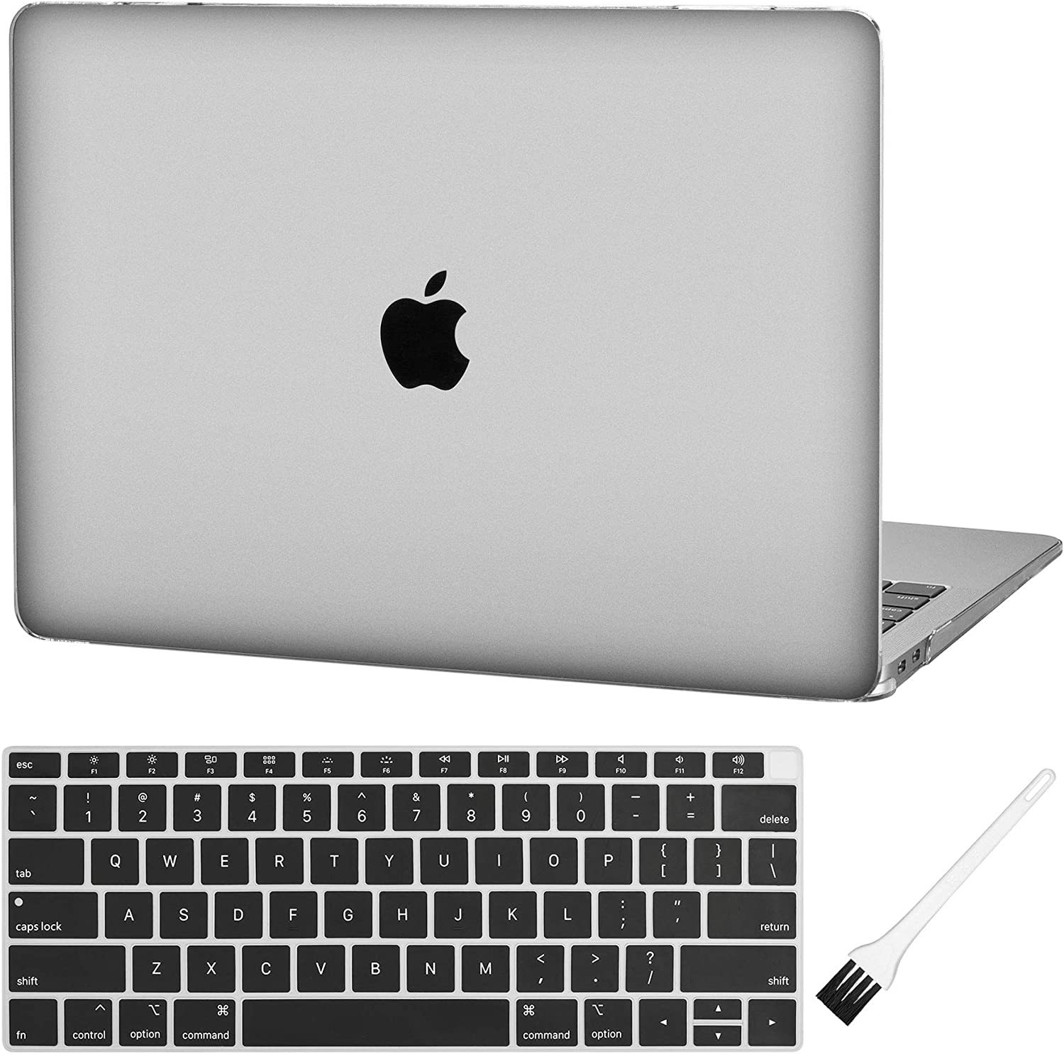 MacBook air 13 Inch Laptop Case A1932 Clear Plastic Laptop Hard Shell Cover Sleeve Matte Rubberized (2020 2019 2018 Release, Touch ID) with Silicone Keyboard Cover and Dust Brush (Crystal Clear)