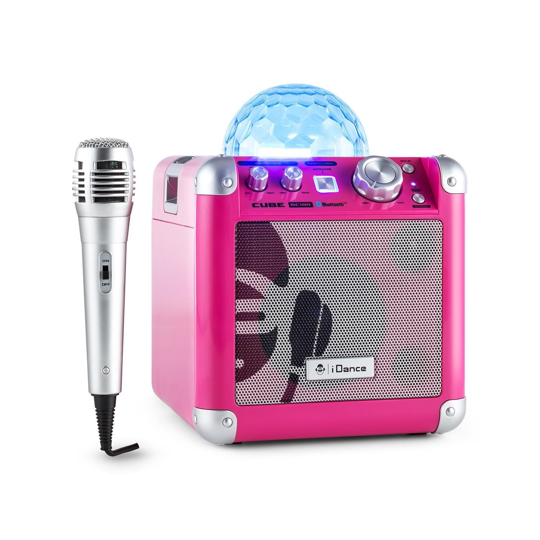 iDance BC10 - Altavoces portátiles (50 W, con Bluetooth, reproducción dual incluido, AUX-In, 2 x micrófonos incluidos), negro Cube BC10