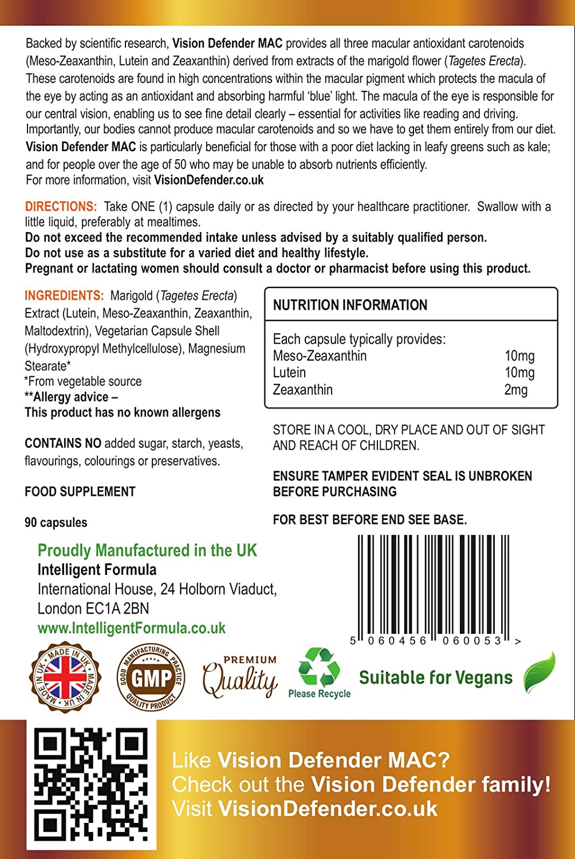 Carotenoides Antioxidantes Maculares VISION DEFENDER MAC - Protege Tus Ojos, Cuida Tu Vista con el Suplemento Vegano de Meso-Zeaxantina, ...