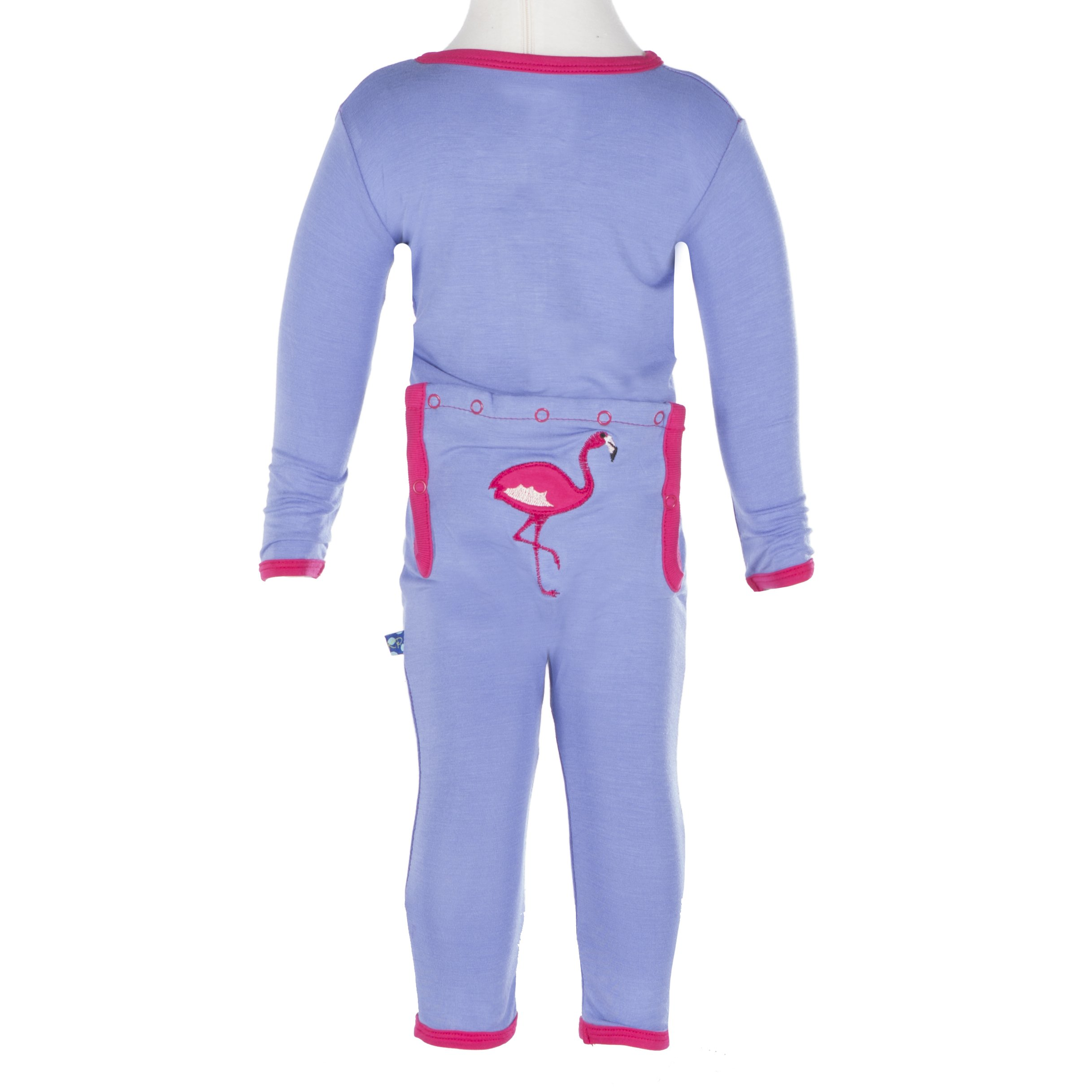 Kickee Pants Big Girls' Applique Coverall in Forget Me Not Flamingo, 4T