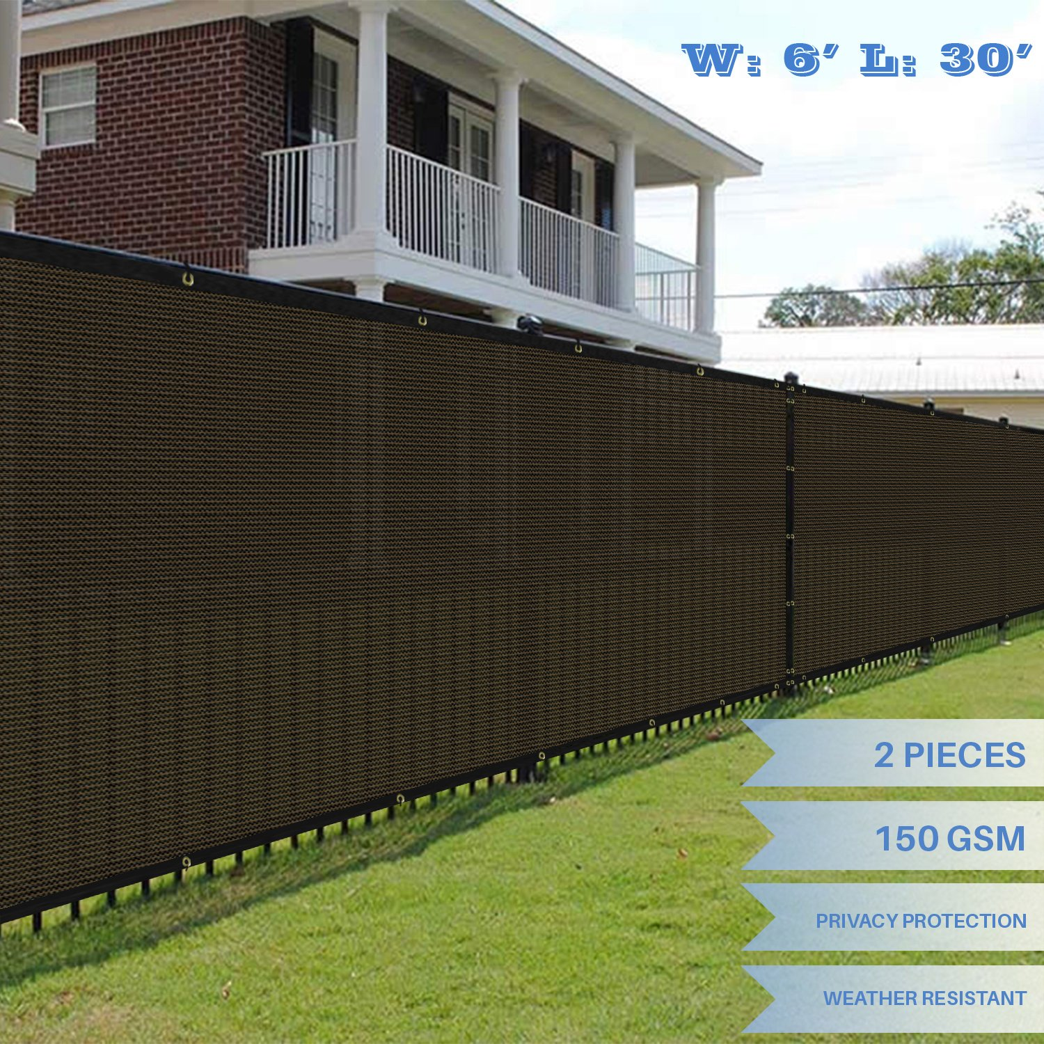 E&K Sunrise 6' x 30' Brown Fence Privacy Screen, Commercial Outdoor Backyard Shade Windscreen Mesh Fabric 3 Years Warranty (Customized Sizes Available) - Set of 2