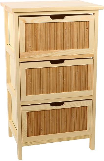 DECOMANIA – Mueble de almacenaje cómoda (3 cajones de bambú y Pin ...