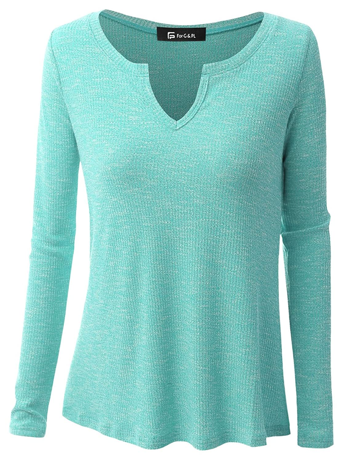 For G & PL Women's Casual V-Neck Knitted Sweatshirt Tops