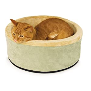 K&H Pet Products Thermo-Kitty Heated Pet Bed, Sage, Large