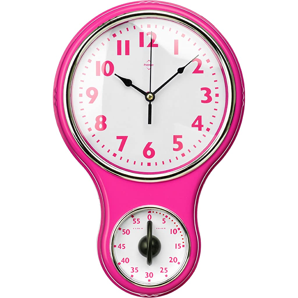 Premier Housewares Hot Pink Wall Clock with Timer Dial
