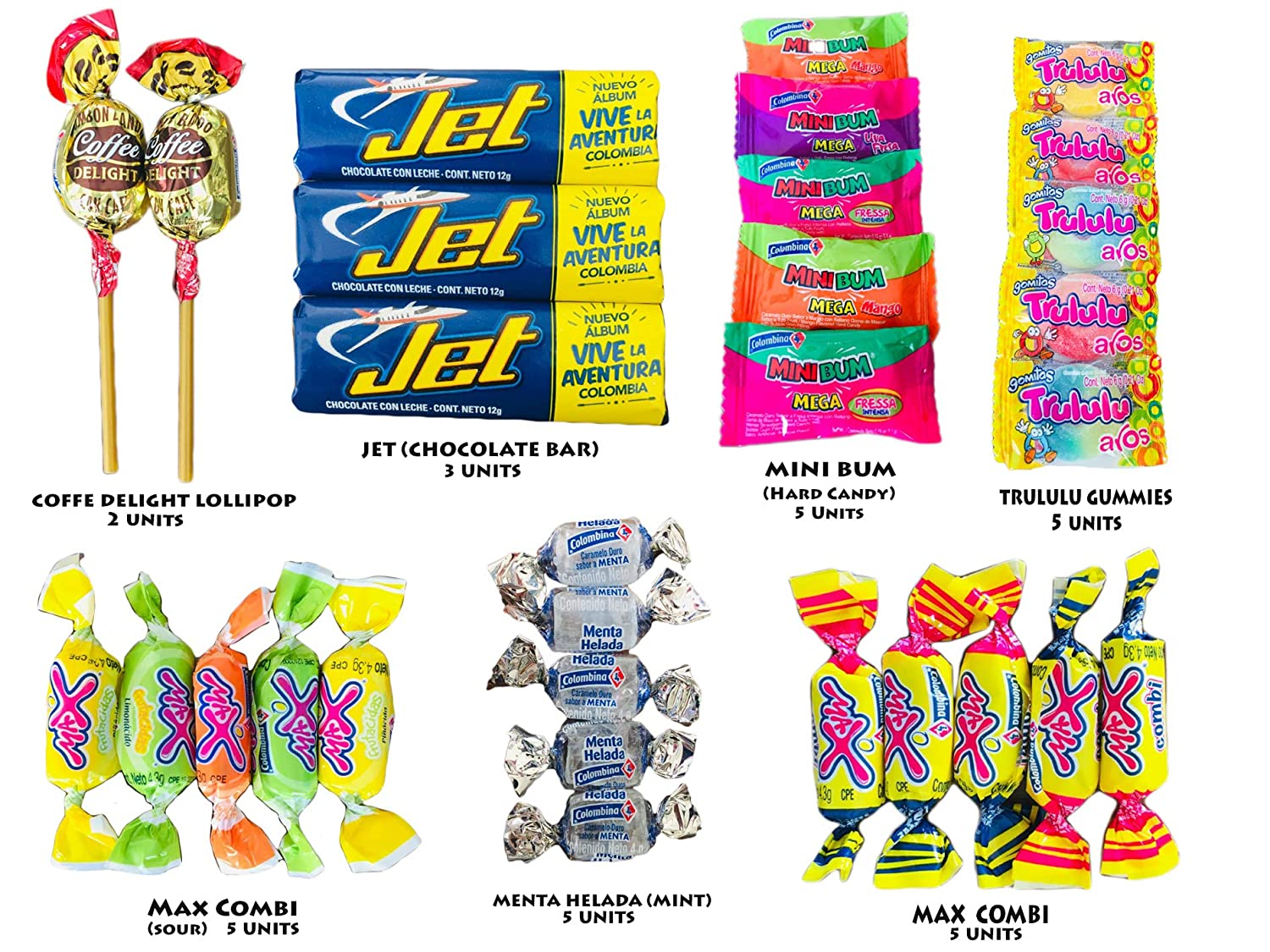 Eight-14 Colombian Candies - Pack of 60 - Lollipops Gummies and Hard Candy (Hard Candies, Medium)