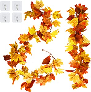 Amandir 2 Pack Thanksgiving Garland Decor for Home Artificial Maple Leaf Hanging Fall Leaves Garland Autumn Foliage Fake Vines Wedding Party Outdoor Indoor Christmas Thanksgiving Decorations