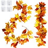 Amandir 2 Pack Thanksgiving Garland Decor for Home Artificial Maple Leaf Hanging Fall Leaves Garland Autumn Foliage Fake…