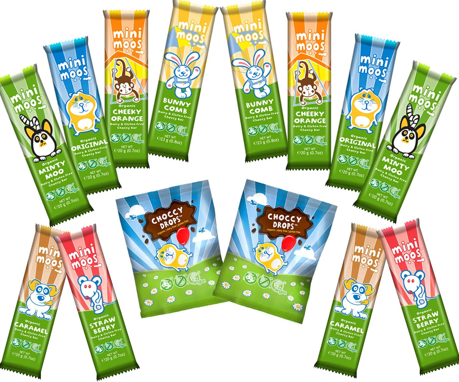 Moo Free Dairy Free Chocolate 14 x Items Mixed Case-Mini Moo Choco Drops