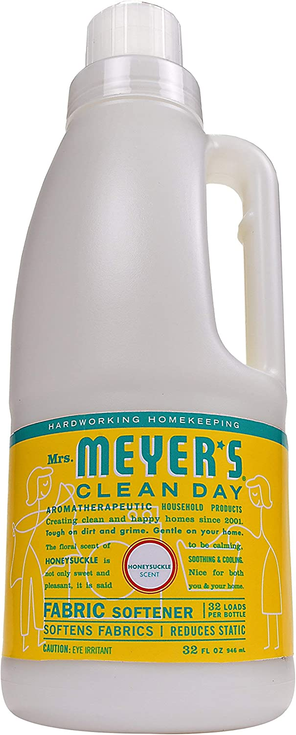Mrs. Meyer's Clean Day Liquid Fabric Softener Bottle, Honeysuckle Scent, 32 Fluid Ounce