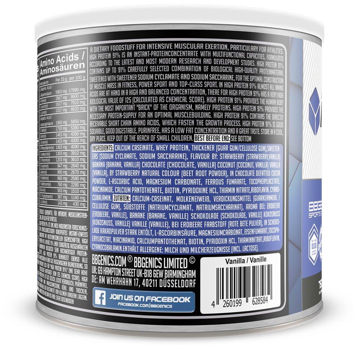 High Protein 91%, alto contenido de proteínas del 91 %, menos del 1 % de grasa, 1 % de carbohidratos, proteína en polvo de suero de leche y caseína, ...